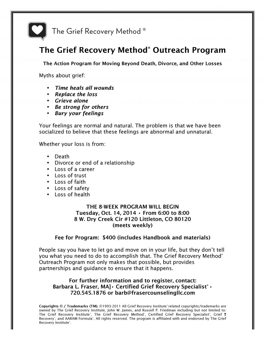 The Grief Recovery Method Outreach Program Life Track Counseling